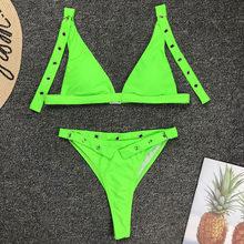 النيون الأخضر عالية الخصر بيكيني 2019 ضبط حزام ملابس السباحة المرأة ثونغ ملابس السباحة الإناث قطعتين مجموعة البكيني البرازيلي ثوب السباحة(China)
