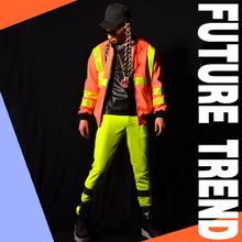 Buy Hot Nightclubs male singer DS DJ right Zhilong GD orange reflective baseball uniform Men bars costumes motorcycle jackets M-5XL for $116.00 in AliExpress store