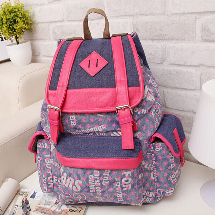 Women man canvas backpacks printing shoulder bags 2015 new brand lady elegant backpack big large capacity casual sport travel - Don't even think about it store