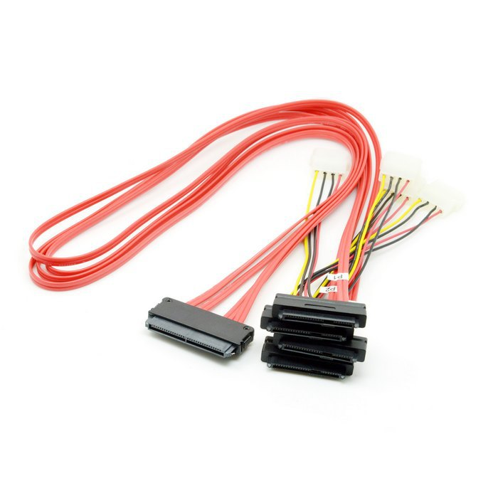 SAS SFF 8482 to SFF 8484 32pin Host to SATA 29P HDD 100cm Red Cable(China (Mainland))