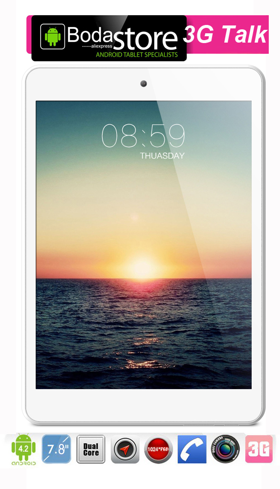 Hot 7.8 inch cell phone IPS 3G tablet pc MTK8312 1.3GHz 8GB GPS GSM WCDMA Tablet Pc Sim Card Slot dual sim phone call Bluetooth(China (Mainland))