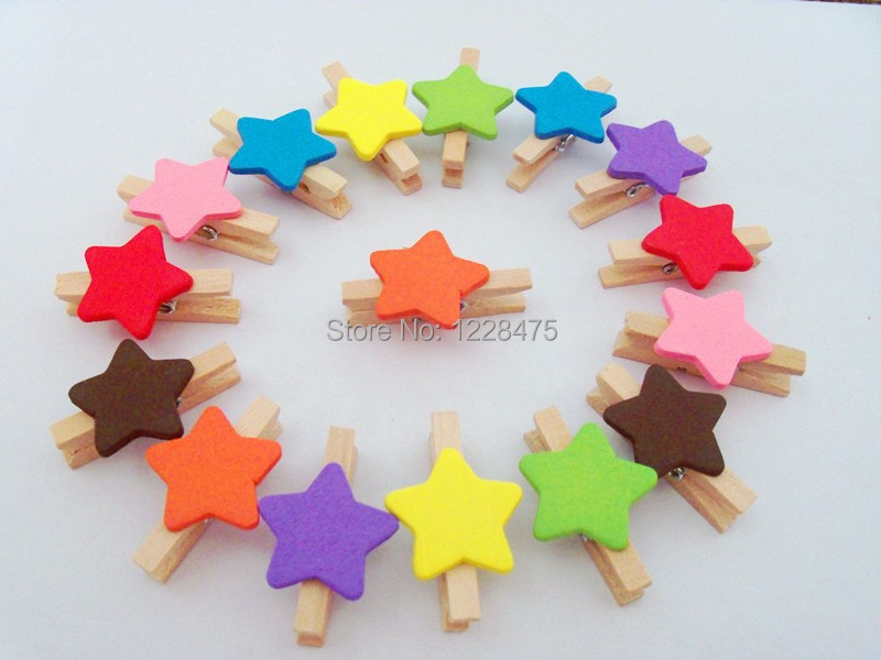 New Fashion Cute Special Gift colors star Heart Wooden Clip/Mini Bag Clip/Paper Clip/wood pegs(China (Mainland))
