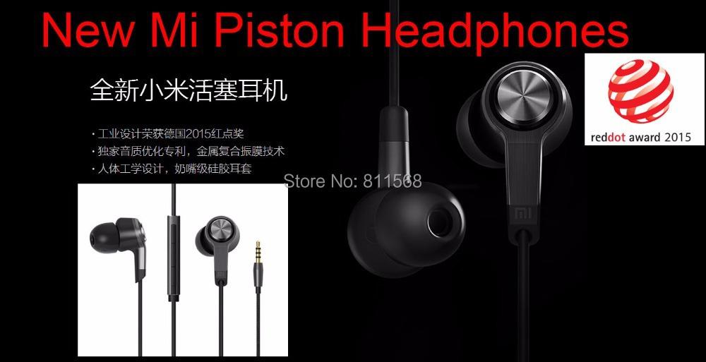 New 2016 100% Original xiaomi piston 3 headphones Metal in ear earphones With Remote &Mic For Mi Note Mi4 MI3 Redmi 2 1s Mi Pad