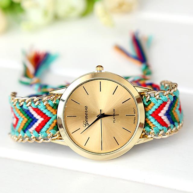 Zegarek damski GENEVA bransoletka przyjaźni ręcznie robiony wzory