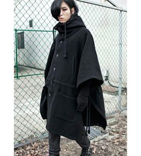 Mens Jacket Trench Coat Wool Fashion Brand Peacoat Hooded Cloak Long Big Size Gothic Clothing Black(China (Mainland))