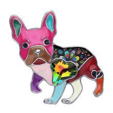 Bonsny Dello Smalto Della Lega Strass Francese Bulldog Pug Dog Spille Abbigliamento Sciarpa Della Decorazione Dei Monili Spille Per Le Donne Ragazze Regalo Bijoux(China)