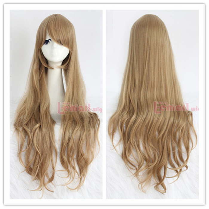 Cheap 32/80CM Heat Resistant Synthetic Wave Light Brown Long Wigs Cosplay Free Shipping<br><br>Aliexpress