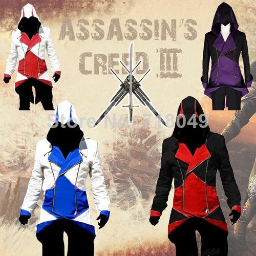 Assassins Creed 3 III Conner Kenway Hoodie Coat Jacket Anime Cosplay Assassin'S Costume Overcoat  -  coco mis's store store