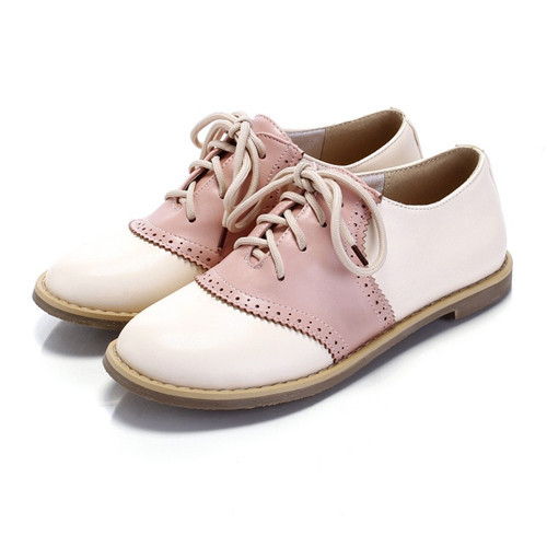 Hot Womens Girls Punched Details Round Toe Lace Color Matching Oxfords Shoes Plus Size US4.5-10.5