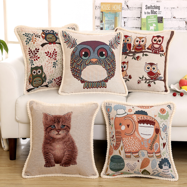 New home decorative sofe Linen cushion cover cartoon chair bolster European style cushion cover yoga pillow free shipping(China (Mainland))