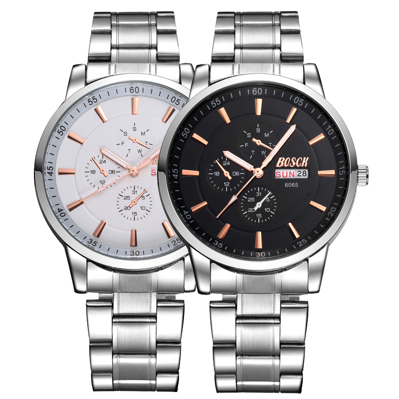 2016 Fashion & Casual Promotion New High-end Men Steel Band Models Calendar Waterproof Style Watches Gift Custom 6065(China (Mainland))