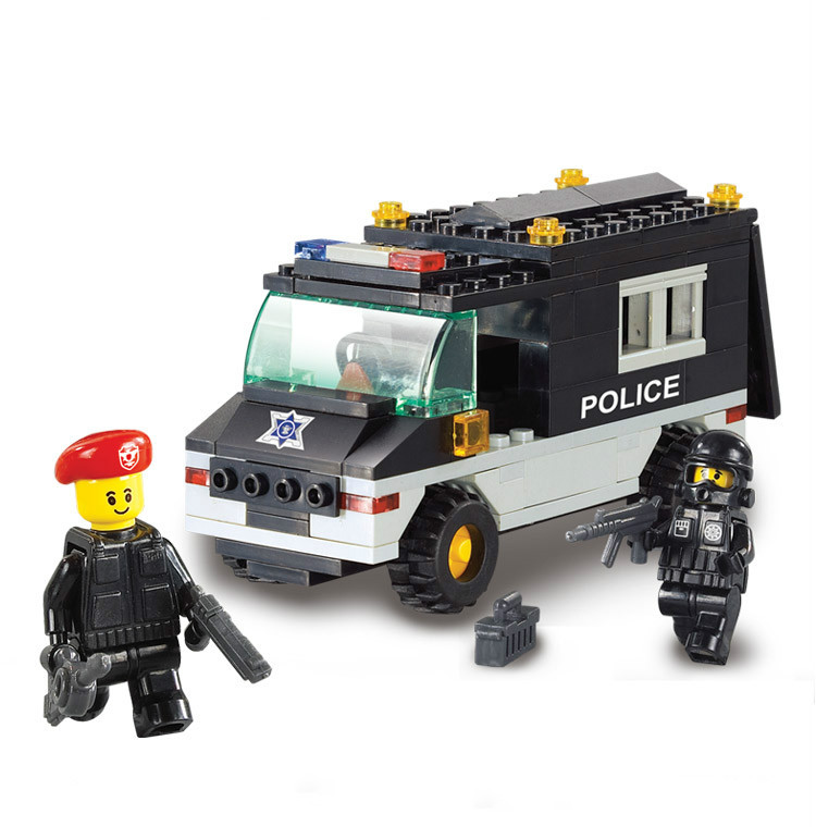 Sluban City Police Riot SWAT Jeep Minifigure 3D Construction Plastic Mode Building Block Sets Model Toys Compatible With Lego(China (Mainland))