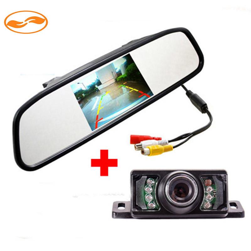 """2IN1 Car Parking System 4.3"""" TFT LCD Display Car Rear View Monitor + 7 IR LED Lights Night Vision Reversing Backup Camera(China (Mainland))"""