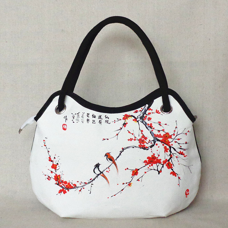 Chinese style national trend shoulder bag unique hand painting bird Plum handbag vintage canvas travel shopping bag(China (Mainland))