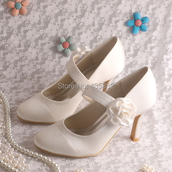(15 Colors)New Model High Heels Shoes Mary Jane Flower Ivory Satin Wedding Bridal Pumps