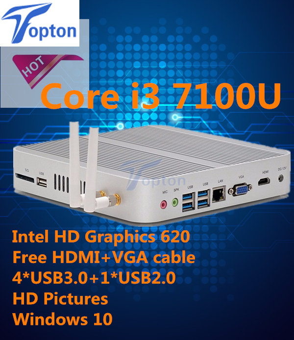 Hot Mini PC Windows i3 7100U HDMI+VGA Mini PC i3 minipc 4K HTPC Intel HD Graphics 620 Fanless PC(China (Mainland))