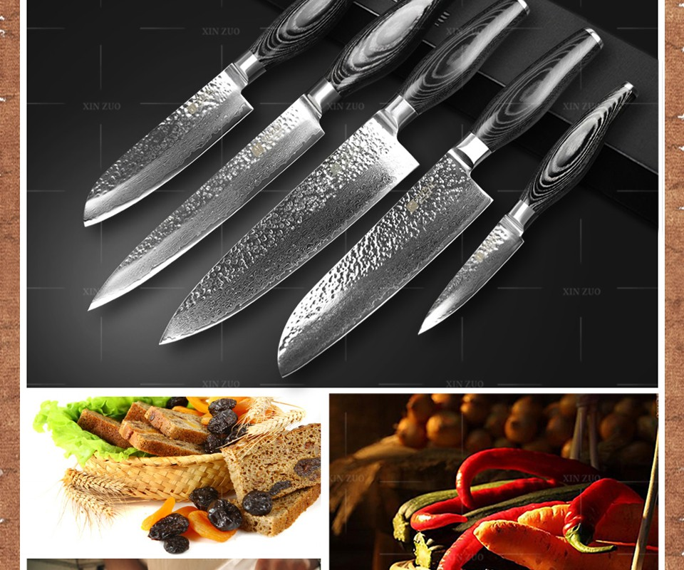 Buy XINZUO 5 pcs kitchen knife set 73 layer Damascus kitchen knife Japanese VG10 cleaver chef  knife kitchen tool free shipping cheap