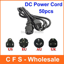50pcs UK Plug / EU Plug / US Plug / AU Plug Universal 3 Prong Power Cord Cable 1.2M for Desktop Printers Monitors Free shipping(China (Mainland))