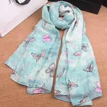 Butterfly Burb Scarf Women Cotton Scarves Fresh Summer Seabeach Garden Foulard NEW 2016(China (Mainland))