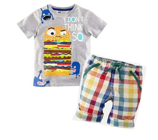 2015 brand children clothing set sport suit kids clothes baby boy clothes sets summer striped casual t-shirt and shorts set(China (Mainland))