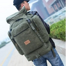 Large capacity men's travel bag Many outside bags Canvas casual bags Simple and practical backpack The new 2014 camping bag(China (Mainland))