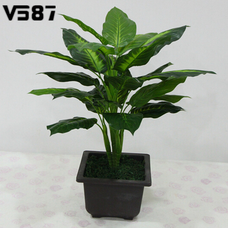 Large 50cm evergreen artificial plant 25 leaves lifelike for Outdoor decorative plants