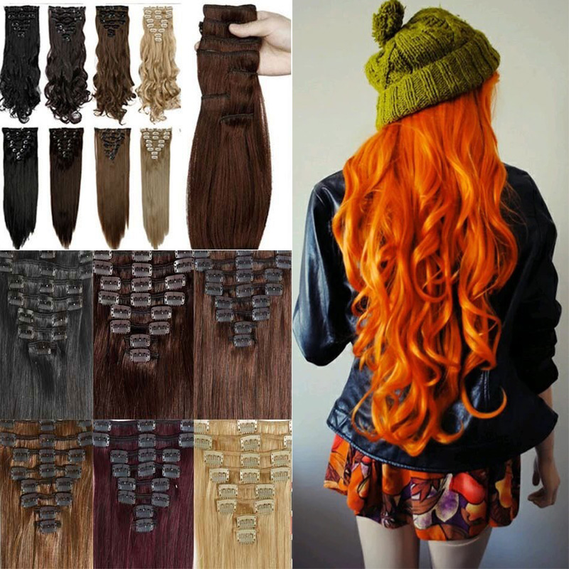 """23"""" 58cm Women Long Straight 8 Pieces 18 clips Clip In On Full Head Hair Extension Any Color From USA Fast(China (Mainland))"""