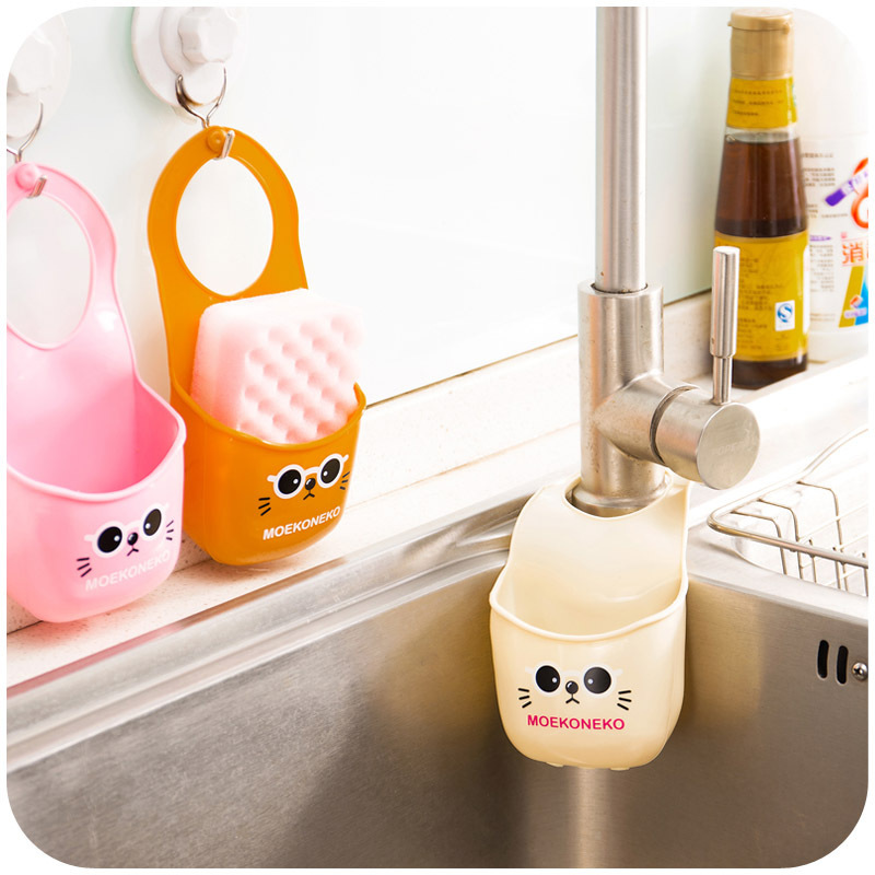 Cartoon cat hang the bag snap sink, kitchen sponges drain and faucets with storage rack(China (Mainland))
