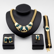 Free Shipping 18k Gold Plated Vintage Jewelry Sets For Women 4 Color Resin Crystal Necklace Bracelet Stud Earring Ring(China (Mainland))