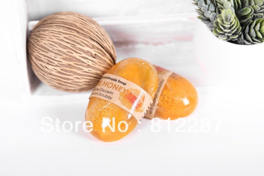 Organic Luffa Handmade Honey Scent Soap Massaging Natural Bath Hand Wash Facial Hand Cleansing Oil Control Skin Moisturizing(China (Mainland))
