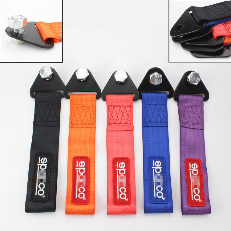 SPACO tow strap Universal High Quality Racing car tow strap/tow ropes/Hook/Towing Bars (red blue purple orange black)(China (Mainland))