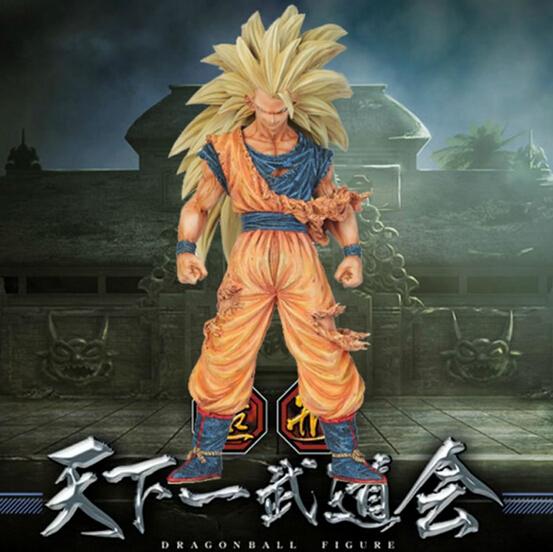 NEW 21cm dragon ball Super saiyan three Battle damage Edition Son Goku Kakarotto action figure toys Christmas doll toy(China (Mainland))