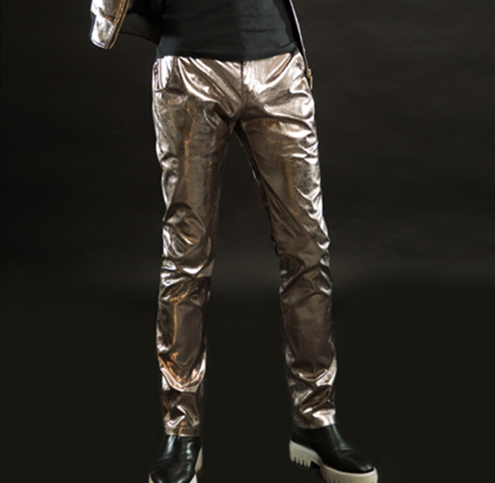 2015 new fashion slim fit male leather pants men s punk casual trousers nightclub bar stage