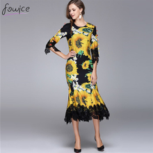 Buy 2016 New Arrival Novelty Mermaid Bodycon Long Dress O_neck Half Sleeve Sunflowers Print Lace Pleated Autumn Vestido for $64.96 in AliExpress store