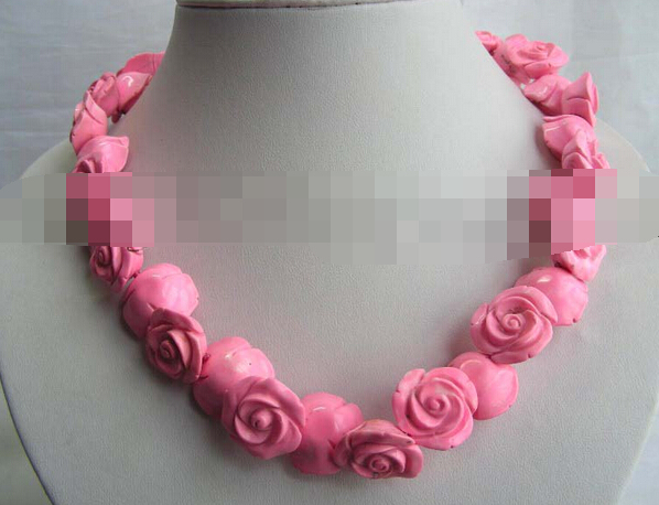 Jewelr 004657 Natural 19mm Pink Carven Flower Turquoise Necklace 14k<br><br>Aliexpress