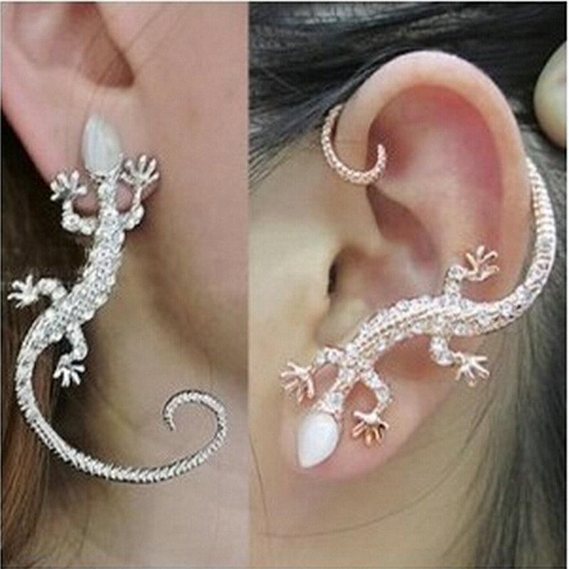 vintage or argent gecko l zard bijou d 39 oreille boucle d 39 oreille clip pour femmes mode boucle d. Black Bedroom Furniture Sets. Home Design Ideas