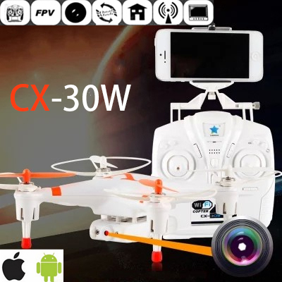 Cheerson CX 30W 4CH 2.4GHz 4-Axis Helicopter Gyro FPV RC Drone Camera for iPhone Android Wifi Real Time Video Quadcopter(China (Mainland))