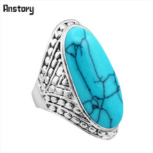 Buy Exotic Crack Dot Oval Stone Rings Vintage Look Antique Silver Plated Cocktail Fashion Jewelry TR363 for $1.19 in AliExpress store
