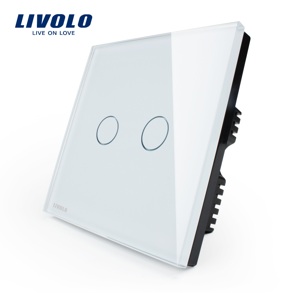 Free shipping, LIVOLO, White Glass Panel, VL-C302-61,110~250V, 2-gang, only UK standard, Touch Light Switch with LED indicator(China (Mainland))
