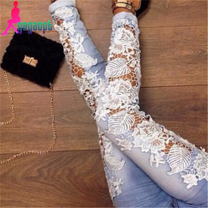 2015 gagaopt сделано мода длинные кружева цветочные тощий сращены выдалбливают отверстия прямые джинсовые брюки для женщин