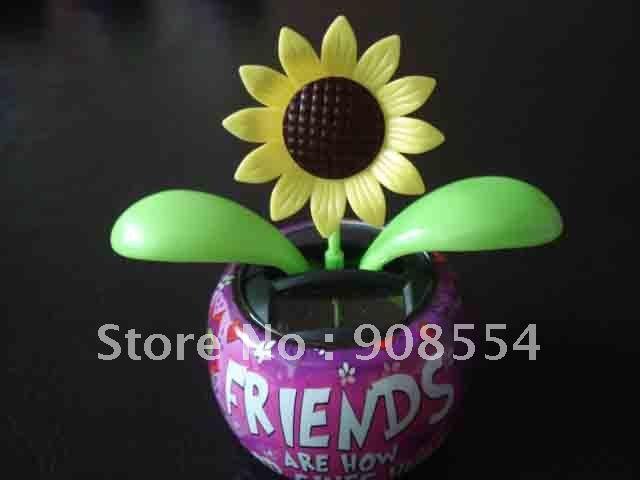 30pcs per lot Free shipping via China post air mail solar flower car decoration(China (Mainland))