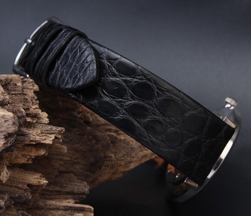 Часы полоса 18 мм 20 мм черный коричневый ультратонких настоящее крокодил из натуральной кожи ремешок золото развертывания застежка часы ремень
