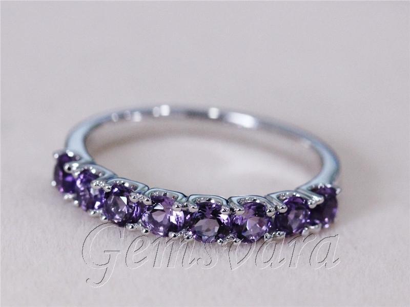 Buy Purple Amethyst Round Cut 14K White Gold Half Ete