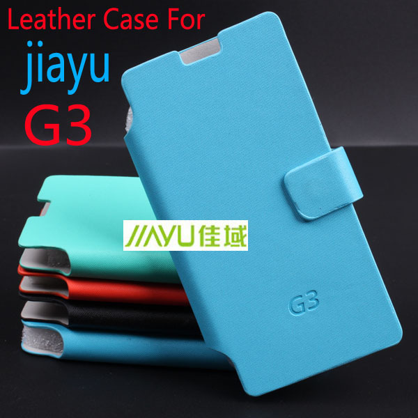 Untra Thin Jiayu G3 Case Luxury PU Leather Case for Jiayu G3 Book Style Case Blue Green Orange Black Color(China (Mainland))