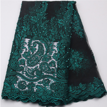 Buy French Bead Lace Fabric Green 2017 Latest African Mesh Tulle Lace Fabric 5Y Nigerian Guipure Lace Fabric High XY539B for $62.25 in AliExpress store