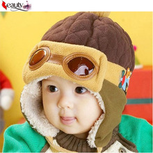 1 pcs Hot Kids Child Baby Winter Pilot Cap gorro Toddlers Aviator Earmuff Protect Beanies Hat 4 Colors(China (Mainland))