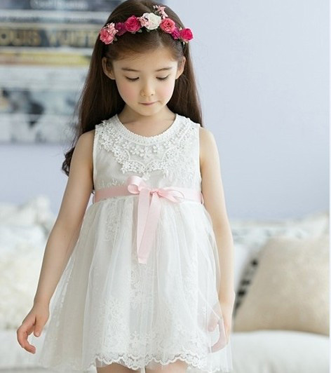 2017 Kids Flower Girls Evening Dress Children Summer Clothes Tutu Dresses for Wedding Party Baby Girl Lace Princess, Pink/White(China (Mainland))