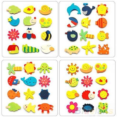 12pcs Colorful Kids Baby Wood Cartoon Fridge Magnet Child Kids Educational Toys 2KDH(China (Mainland))
