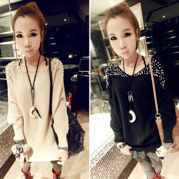 Fashion Women Clothing Long Sleeve Pearl Knitted Casual Winter Sweater T-Shirt Pullover Jumper Top Big Size Free Shipping 0676