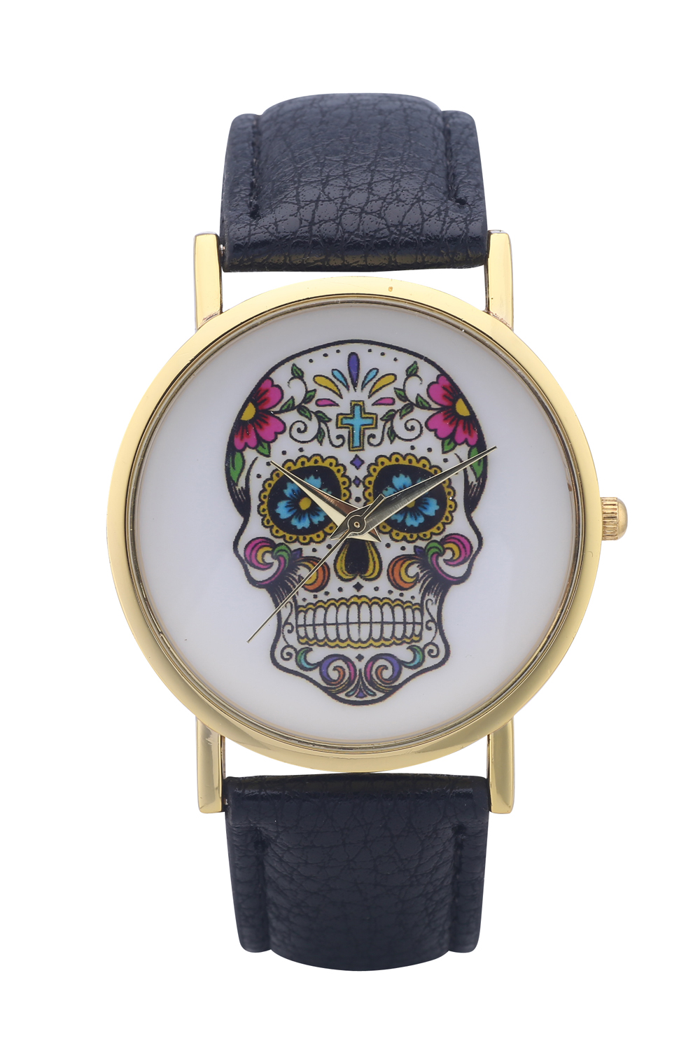 100pcs/lot Geneva Vintage Casual Women White Leather Skull Head Strap Quartz Round Watch-2265<br><br>Aliexpress